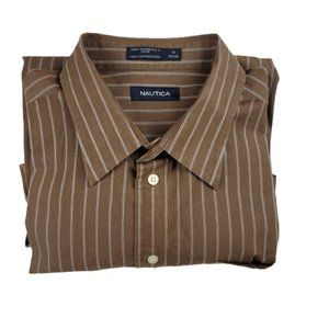 Nautica Brown Striped Dress/Casual Shirt Men's